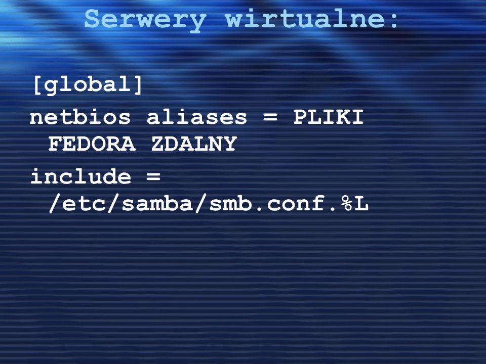 Serwery wirtualne: [global] netbios aliases = PLIKI FEDORA ZDALNY